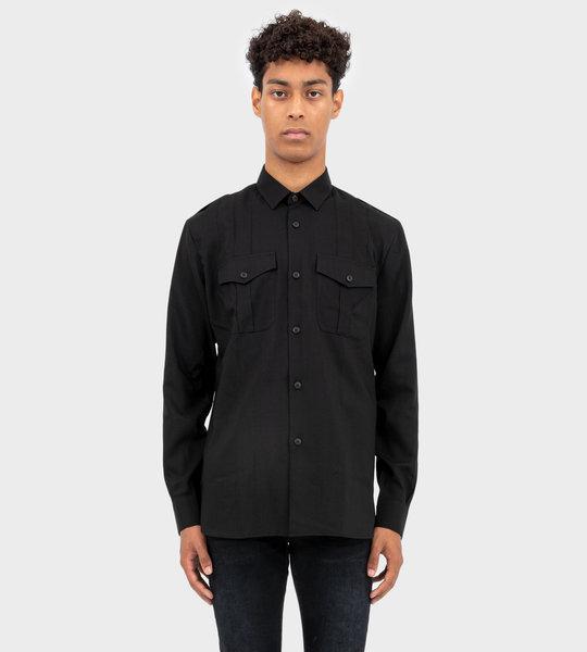 Pleated Army Shirt Black