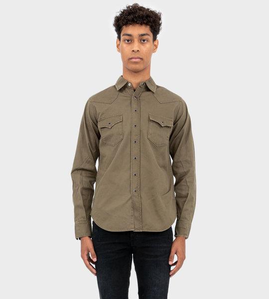 Distressed Classic Western Shirt Khaki
