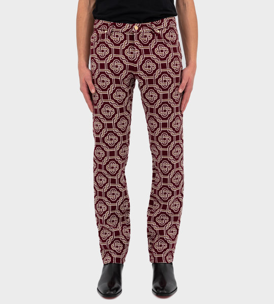 Monogram Print Pants Red