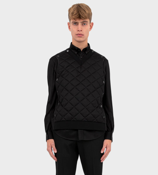 Detachable Quilted Panel Shirt Black