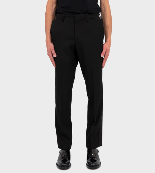 Slim Fit Silk Satin Detail Wool Tailored Trousers Black