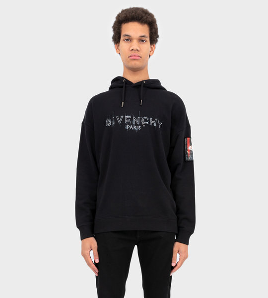 Hoodie With Patch Black