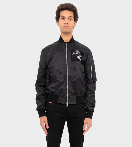 Bomber In Shiny Nylon With Patches