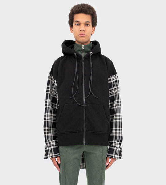 Zipped Flannel Hoodie