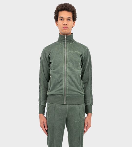 Velvet Logo Print Zipped Jacket Green