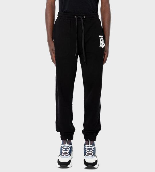 Monogram Motif Cotton Jogging Pants Black