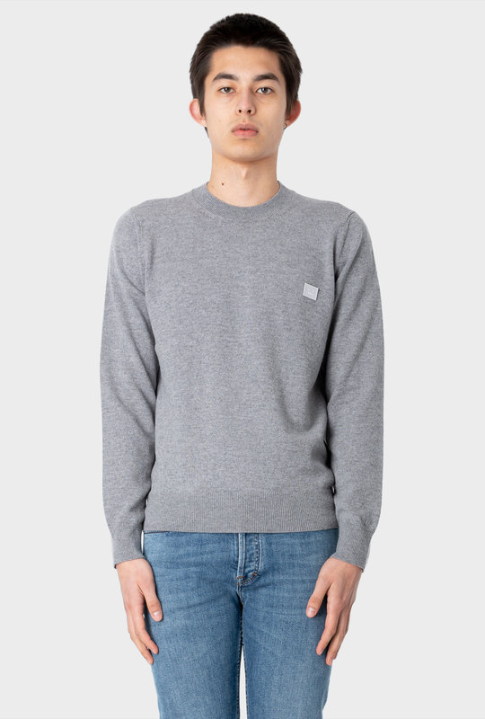 Wool Crew Neck Sweater Grey Melange