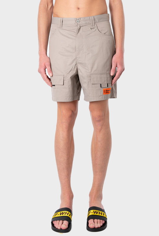 High Rise Utility Shorts Beige