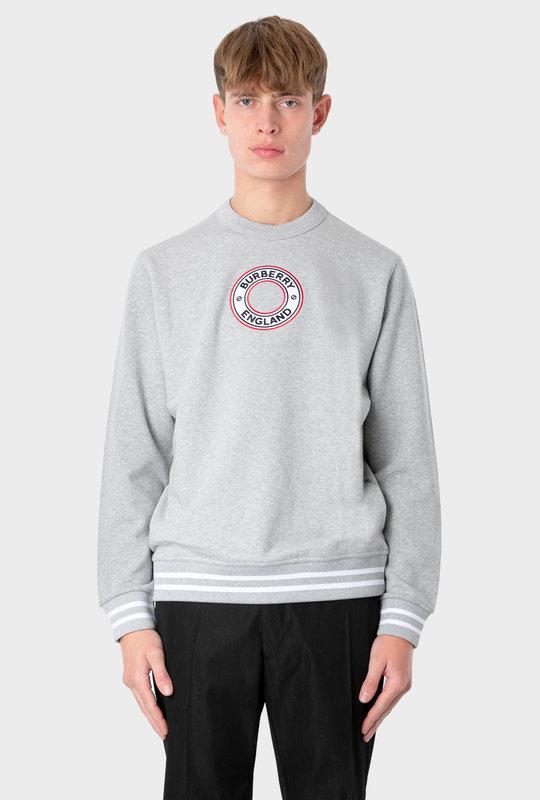 Logo Graphic Appliqué Cotton Sweatshirt Grey