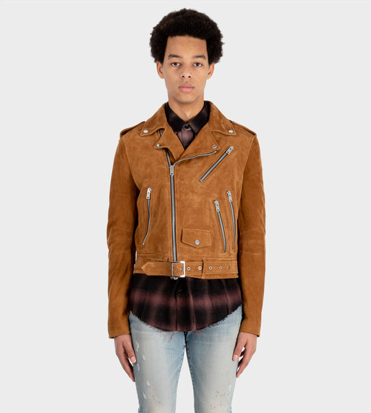 Suede Biker Jacket Brown