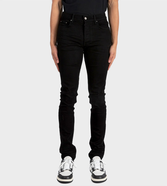 Distressed Skinny-cut Jeans Black