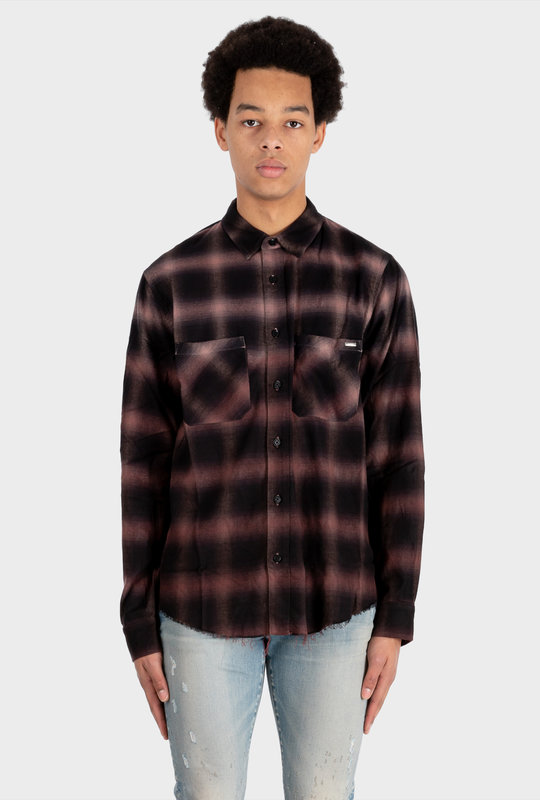 Check Print Raw Cut Shirt Brown