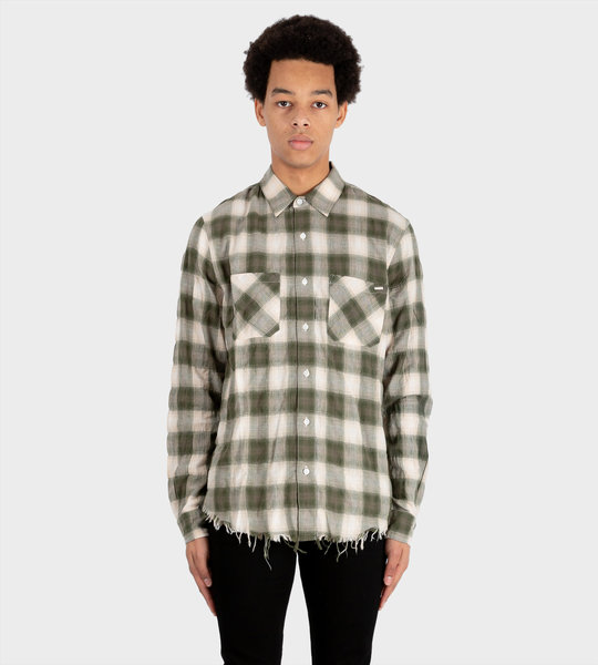 Check Print Raw Cut Shirt Military-Green