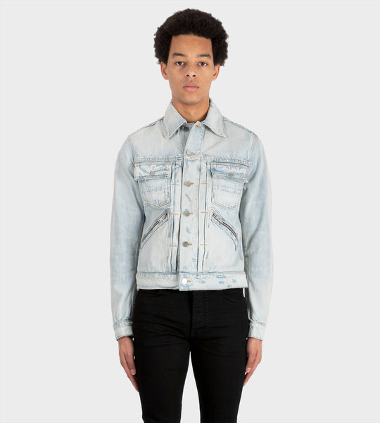 Buttoned-Up Denim Jacket Blue