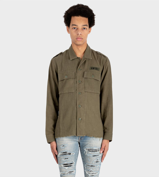 Cashmere Military Shirt Green