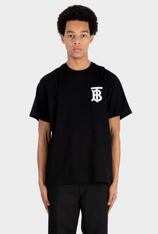 Monogram Motif Cotton Oversized T-shirt Black