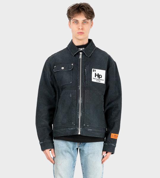 Worker Zip-Up Denim Jacket Black