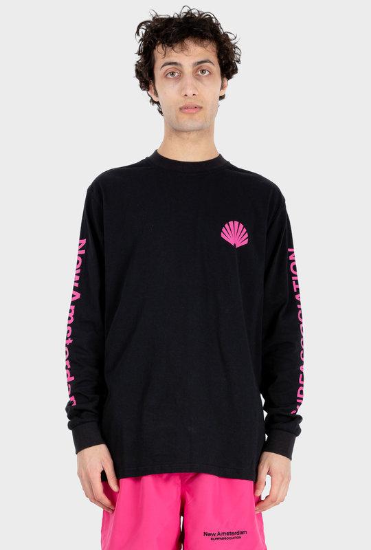 Logo L/S T-Shirt Black/ Magenta