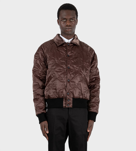 Satin Bomber Jacket Coffee Brown