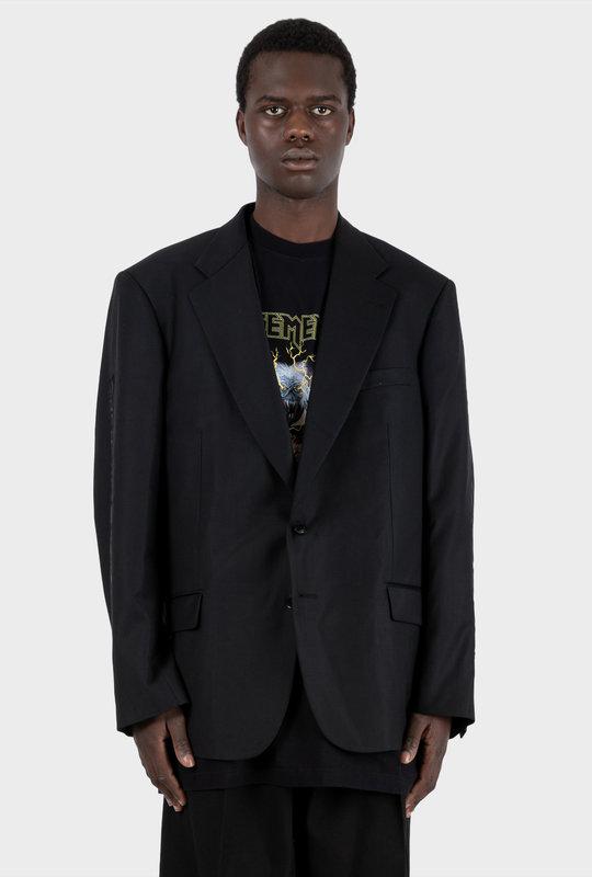 Gothic-Logo Wool-Blend Blazer Black