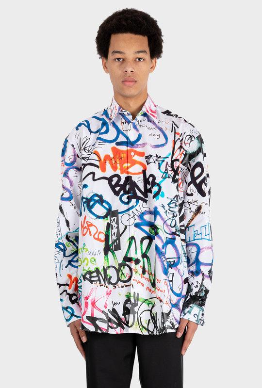 All-Over Graffiti Shirt White