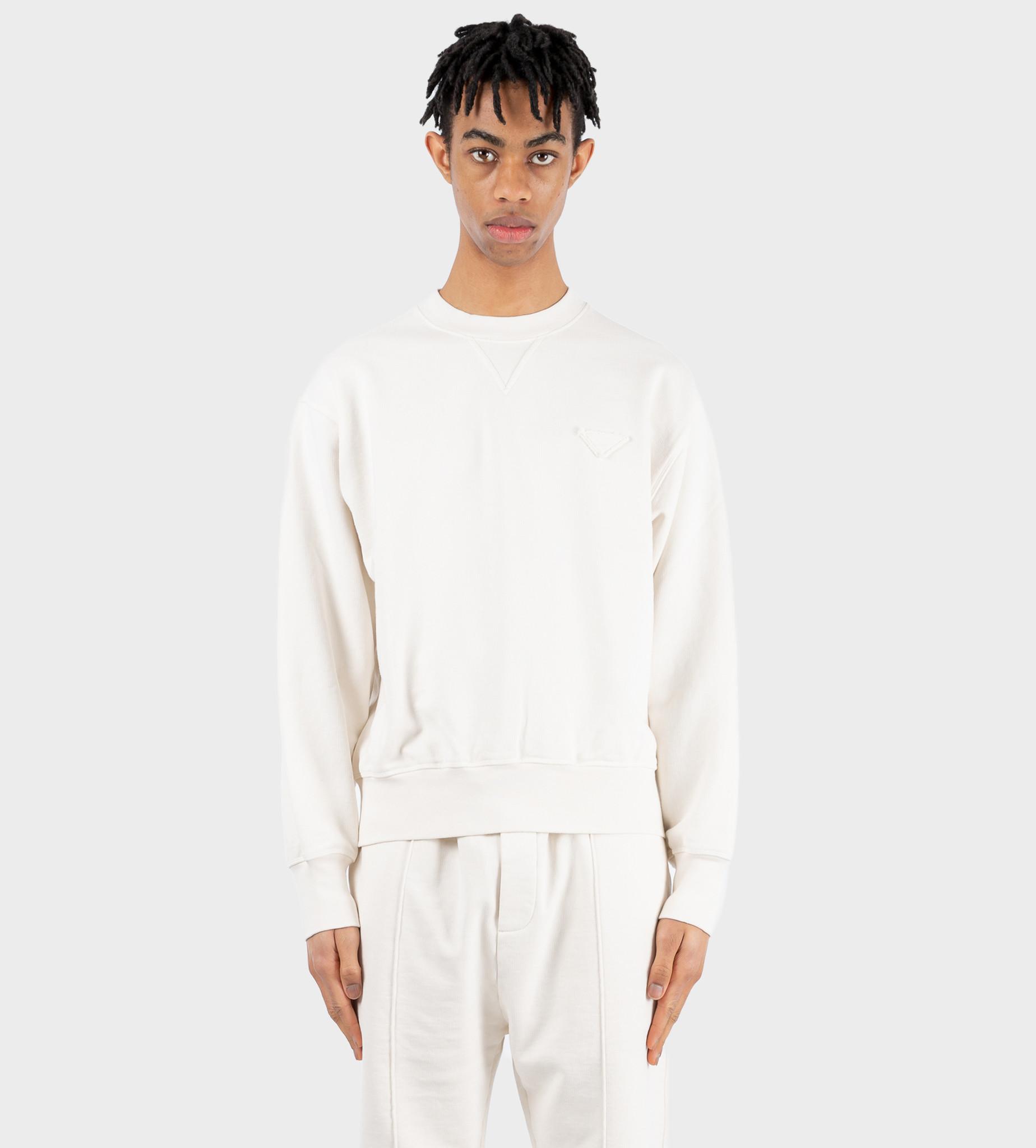 PRADA Garment-Dyed Cotton Sweatshirt Tan