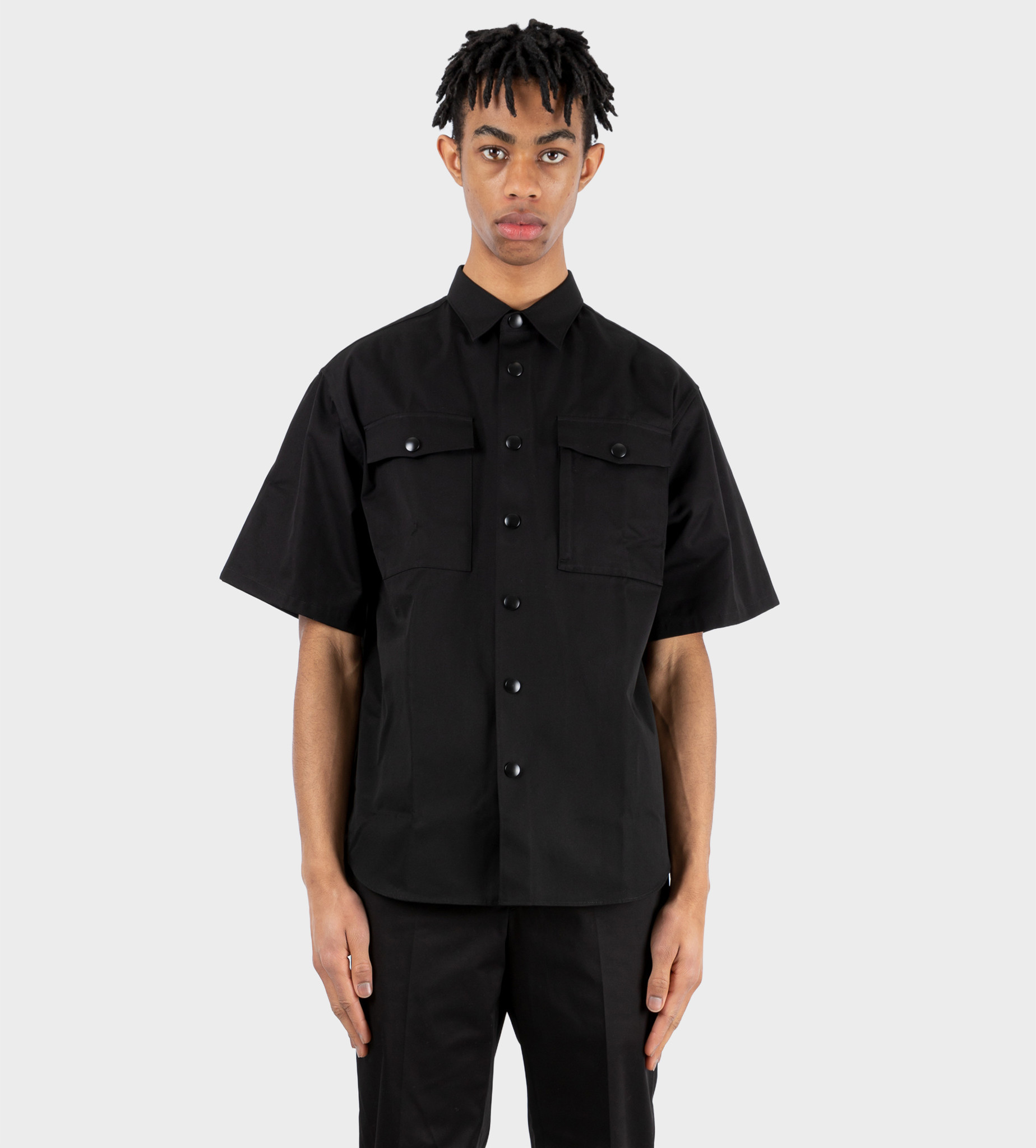 PRADA Short-Sleeved Heavy Cotton Shirt Black