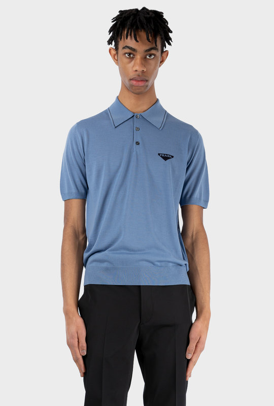 Worsted Wool Polo Shirt Blue