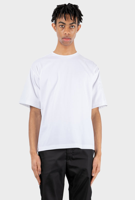 Stretch Cotton T-shirt With Nylon Parts White