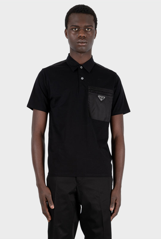 Stretch Cotton Polo Shirt With Nylon Details Black
