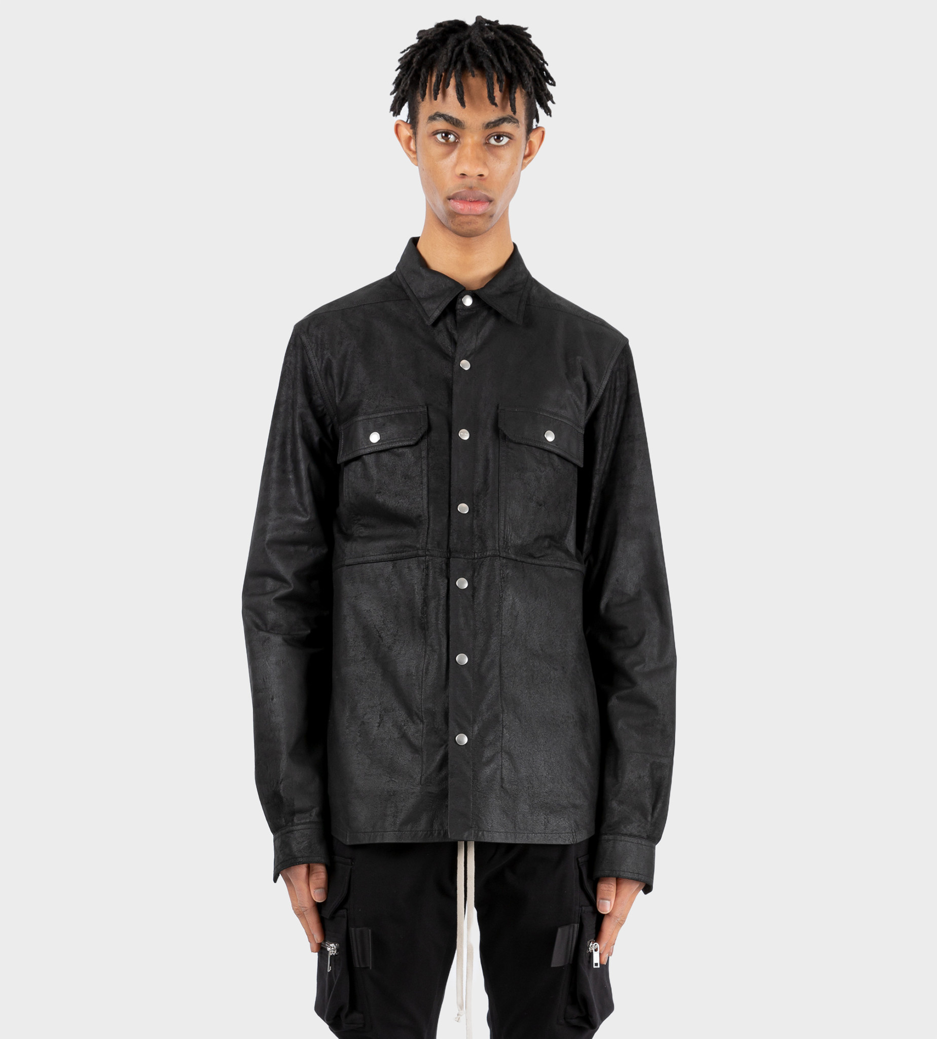 RICK OWENS Leather Outershirt Black