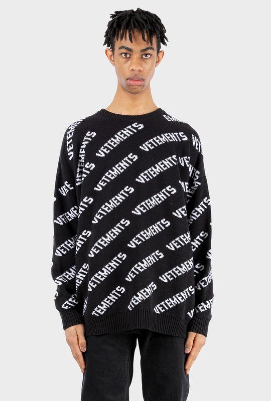 All-Over Logo Knitted Jumper Black