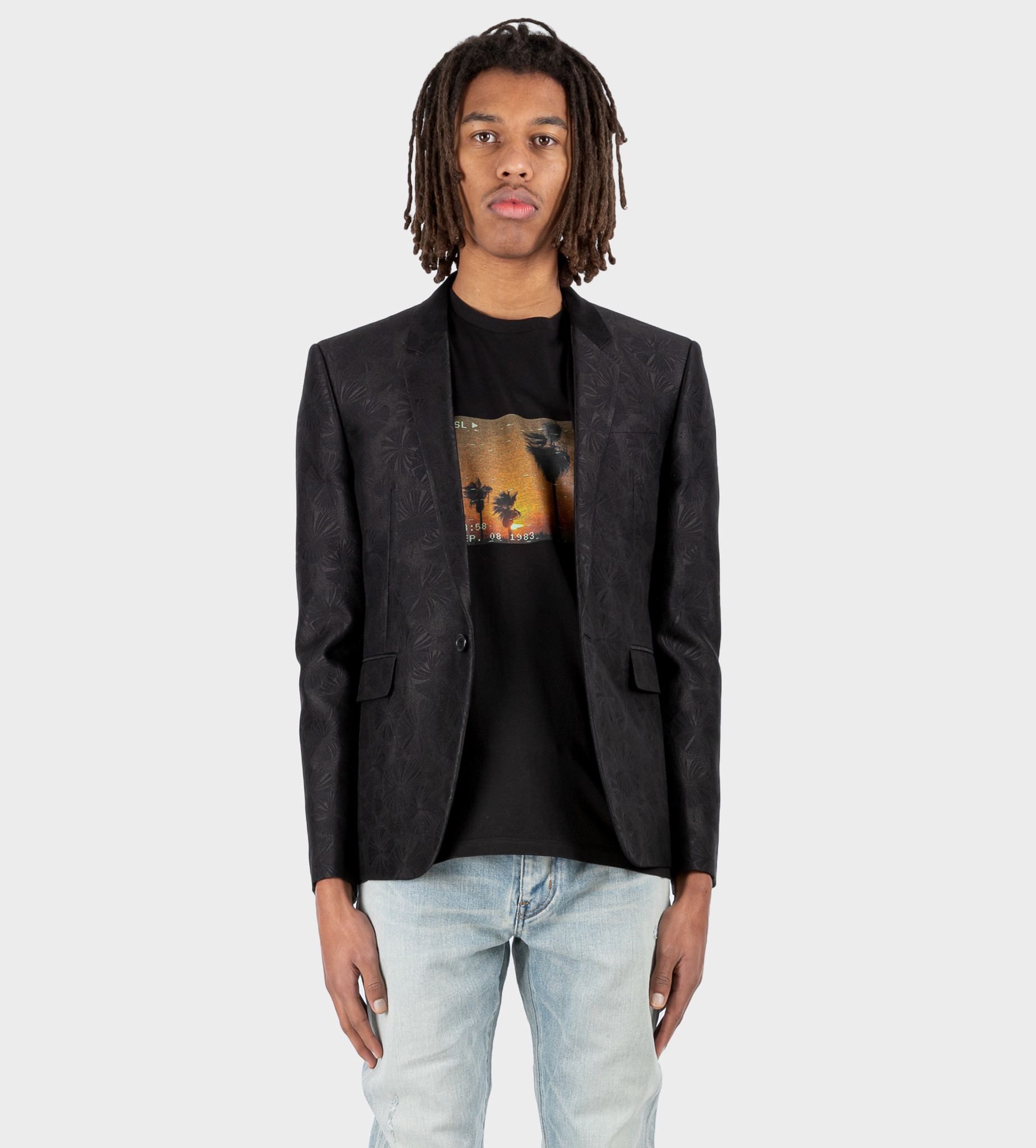 SAINT LAURENT Tailored Jacket in Wool and Silk Parasol Jacquard