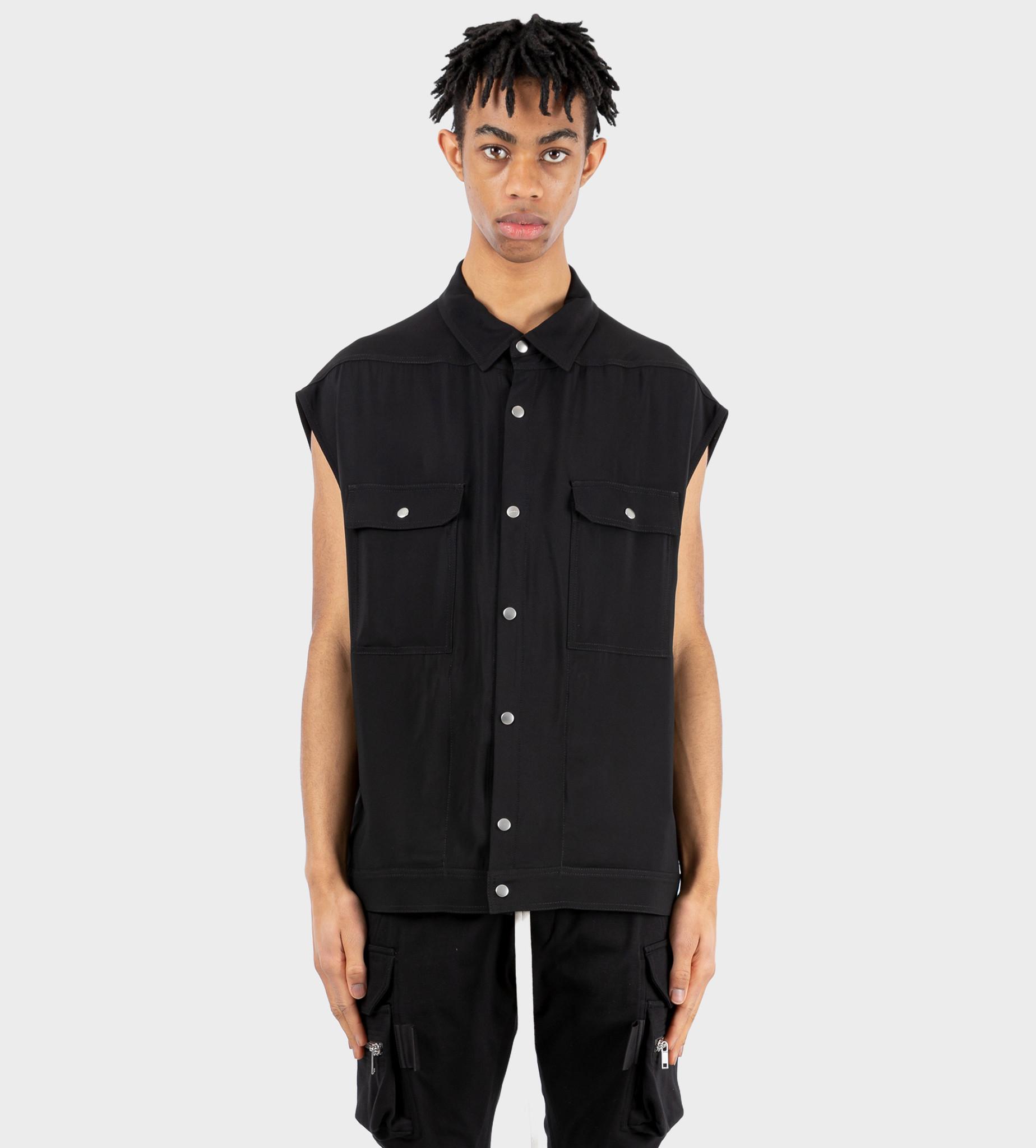 RICK OWENS Sleeveless Snap-Button Shirt