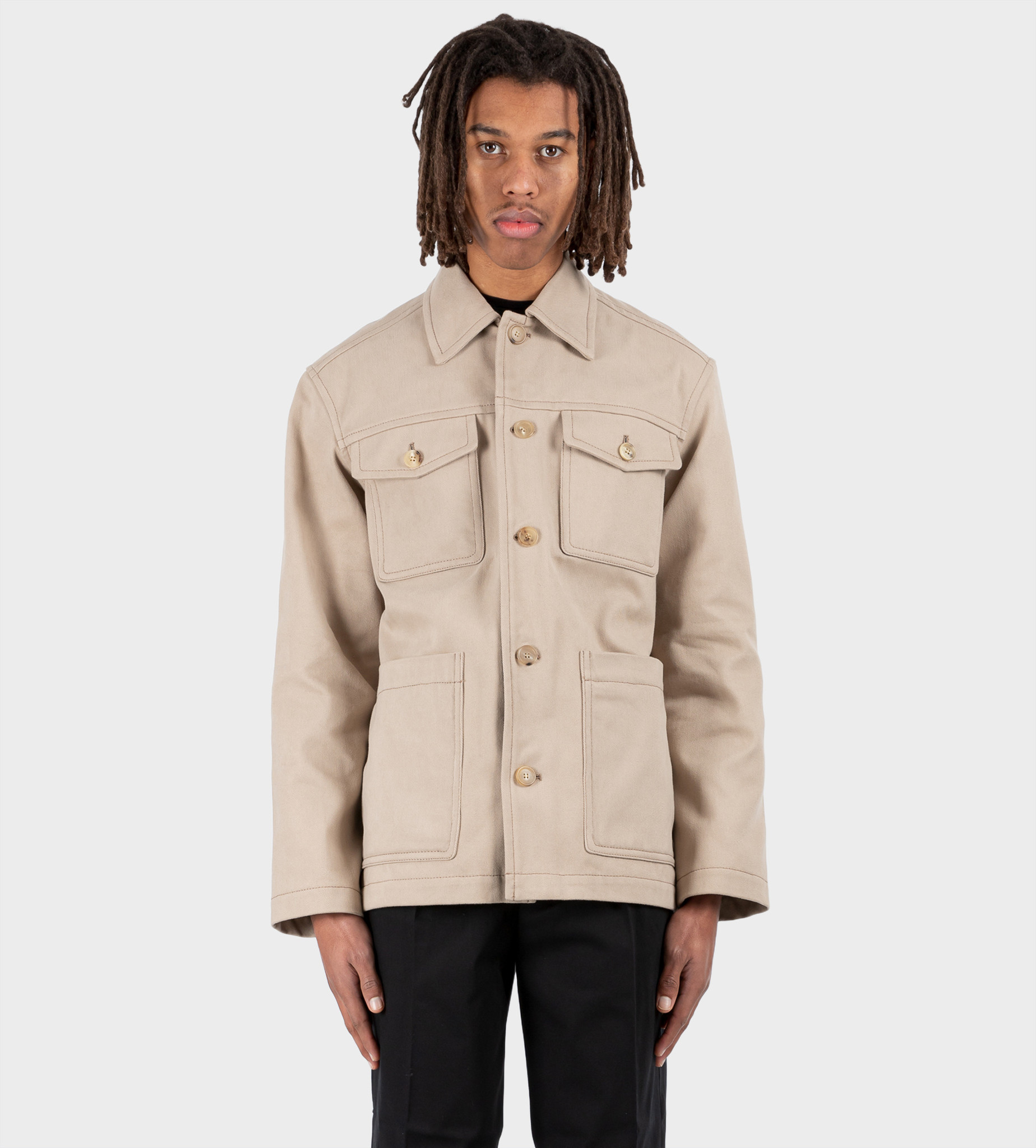 ACNE STUDIOS Cotton Shirt Jacket Hazel Beige