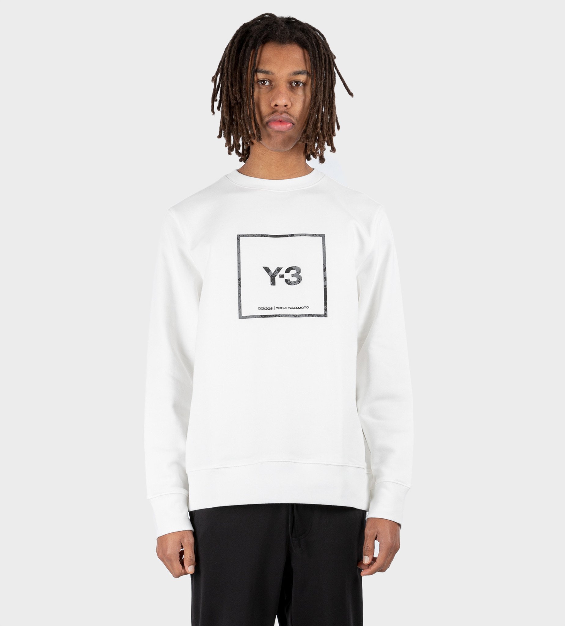 Y3 U Square Label Graphic Crewneck White