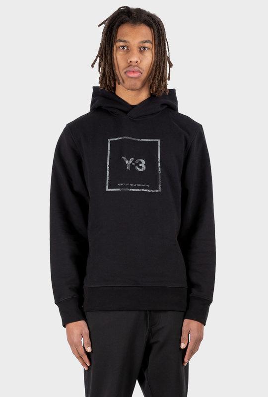 U Square Label Graphic Hoodie Black