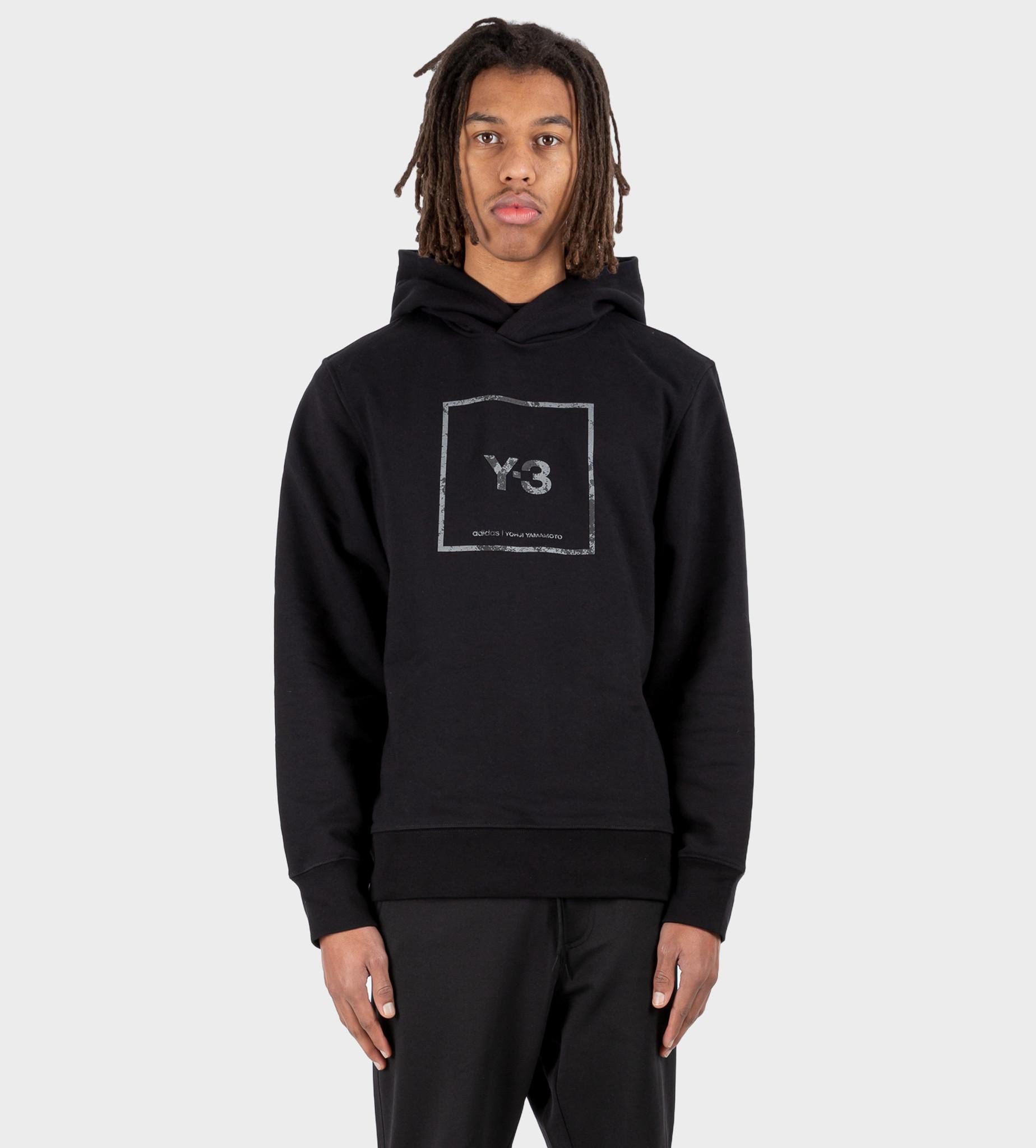 Y3 U Square Label Graphic Hoodie Black