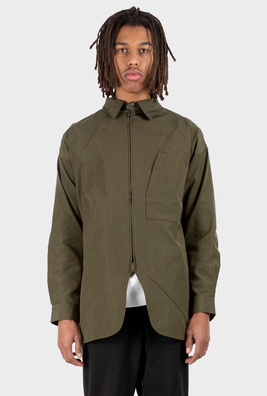 Striped Zip-Up Shirt Jacket