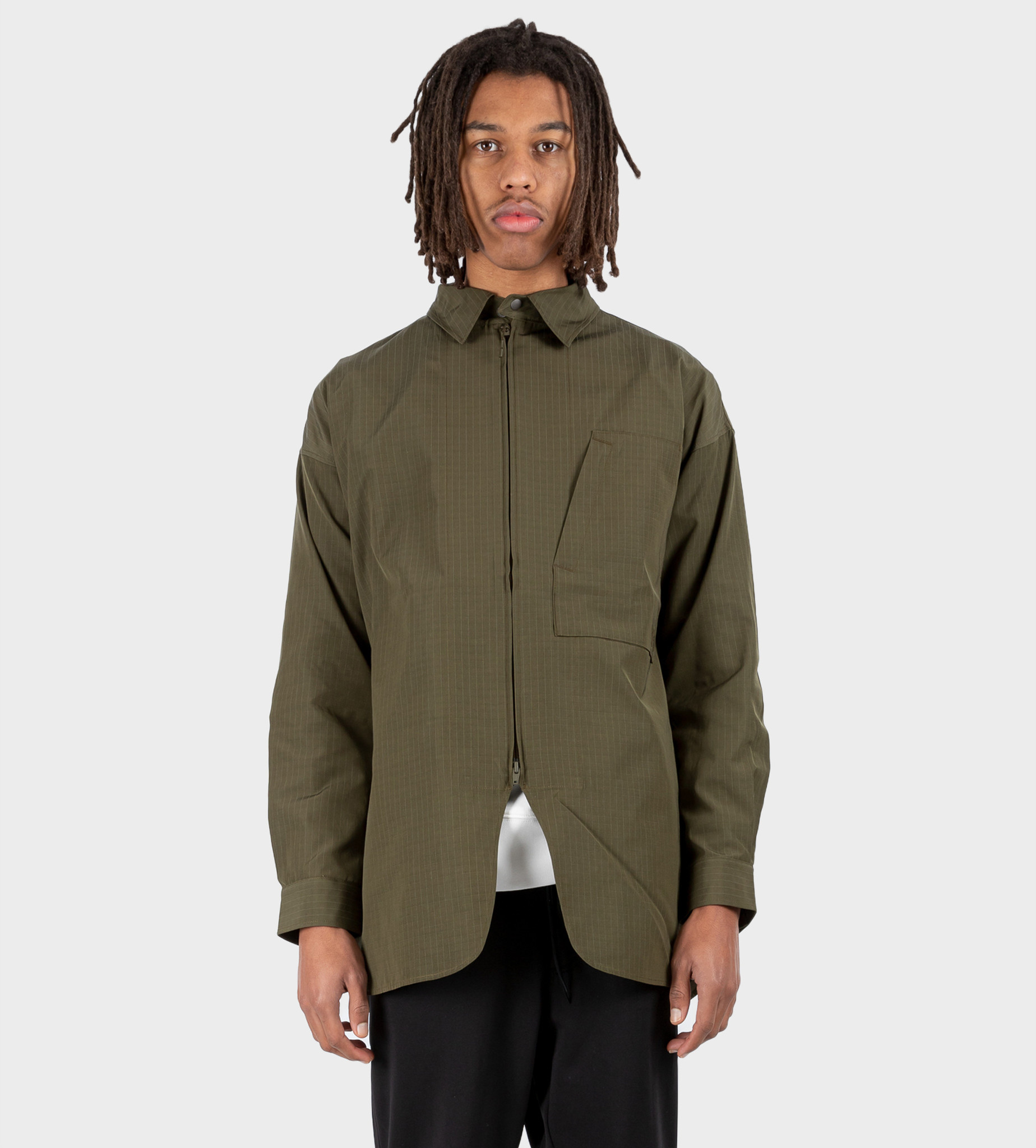 Y3 Striped Zip-Up Shirt Jacket