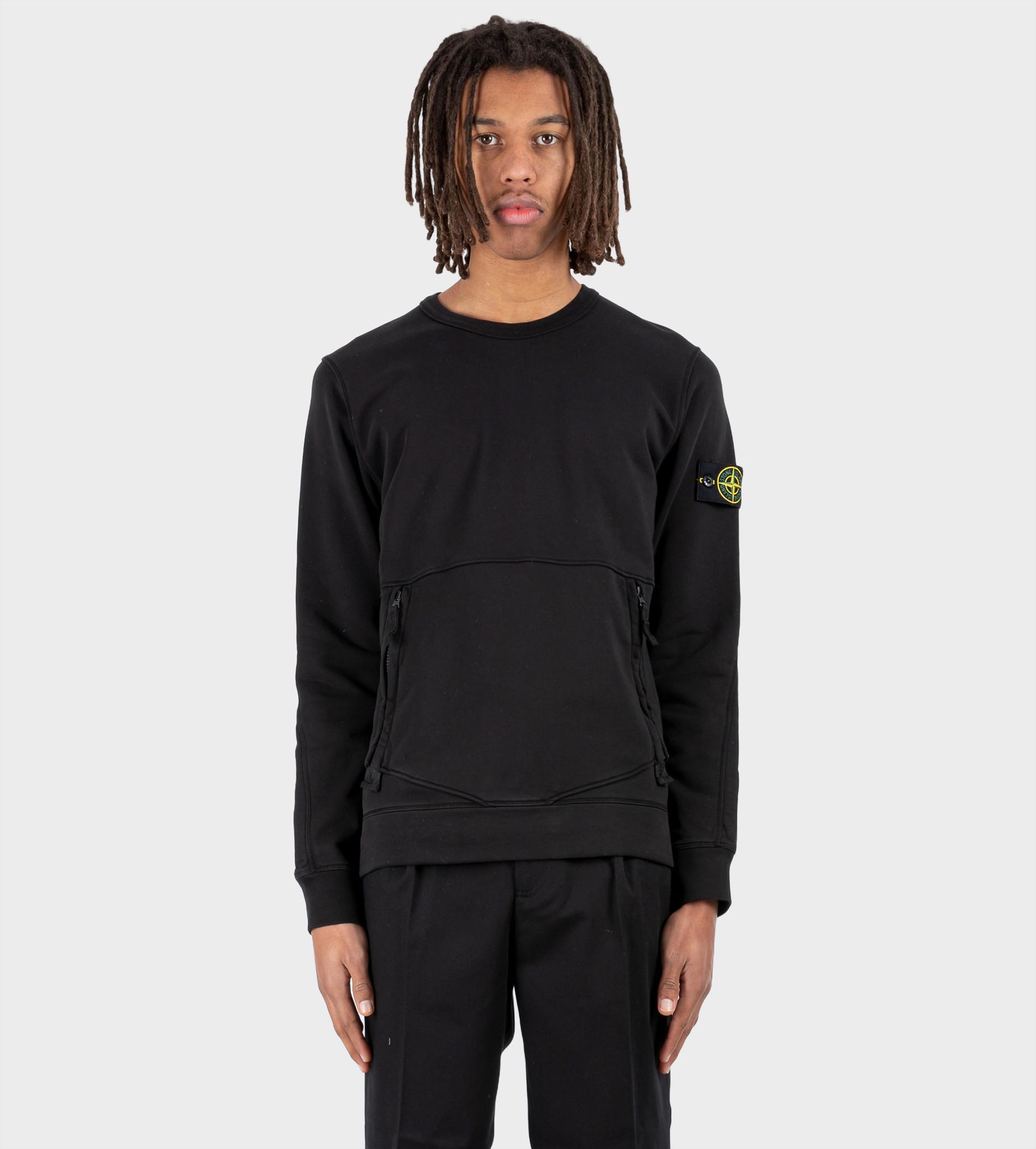 STONE ISLAND Front Pocket Logo Patch Sweatshirt Black