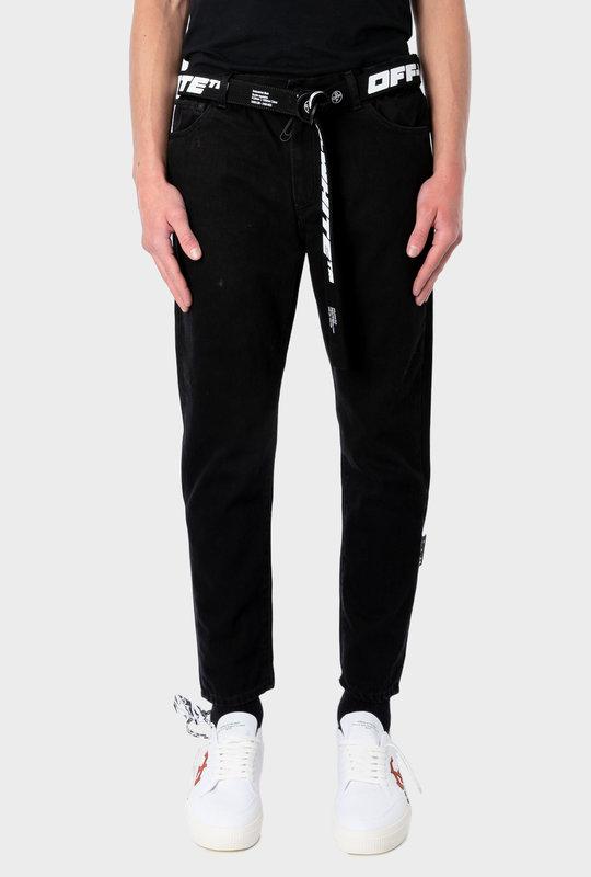 Slim Fit Jeans With Belt Black