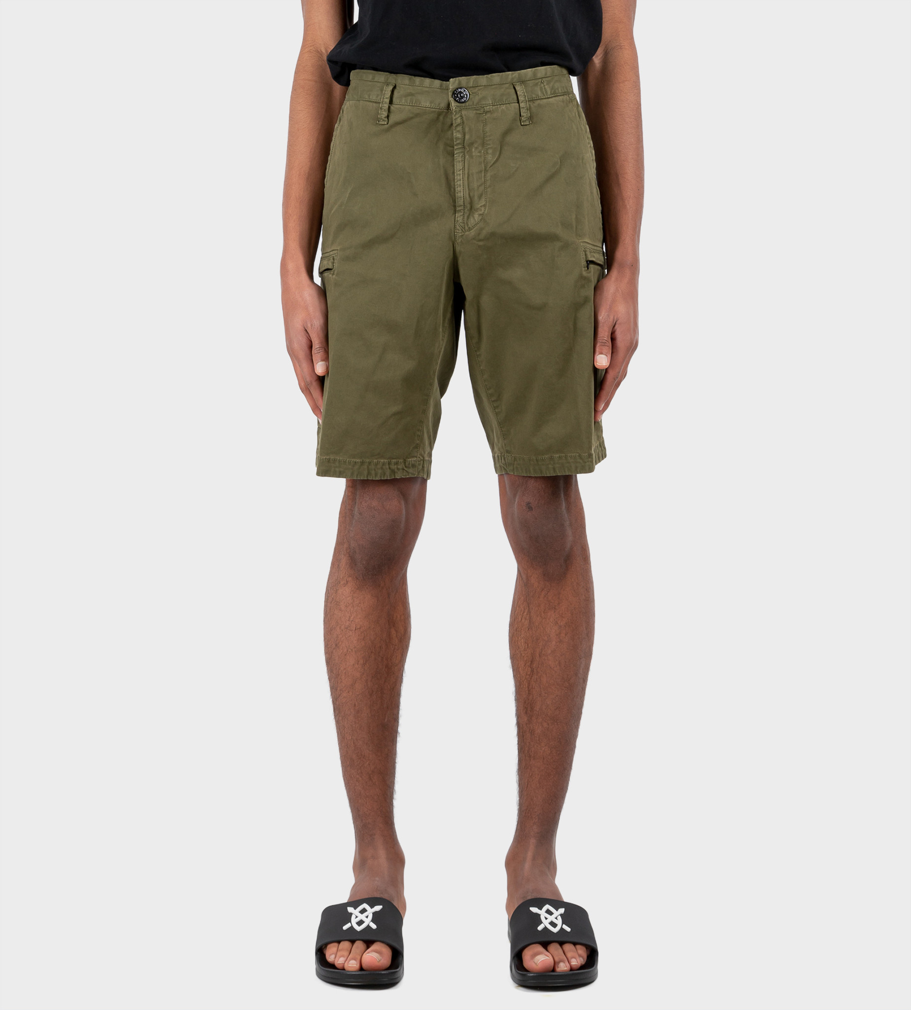 STONE ISLAND Cargo Bermuda Shorts Olive Green