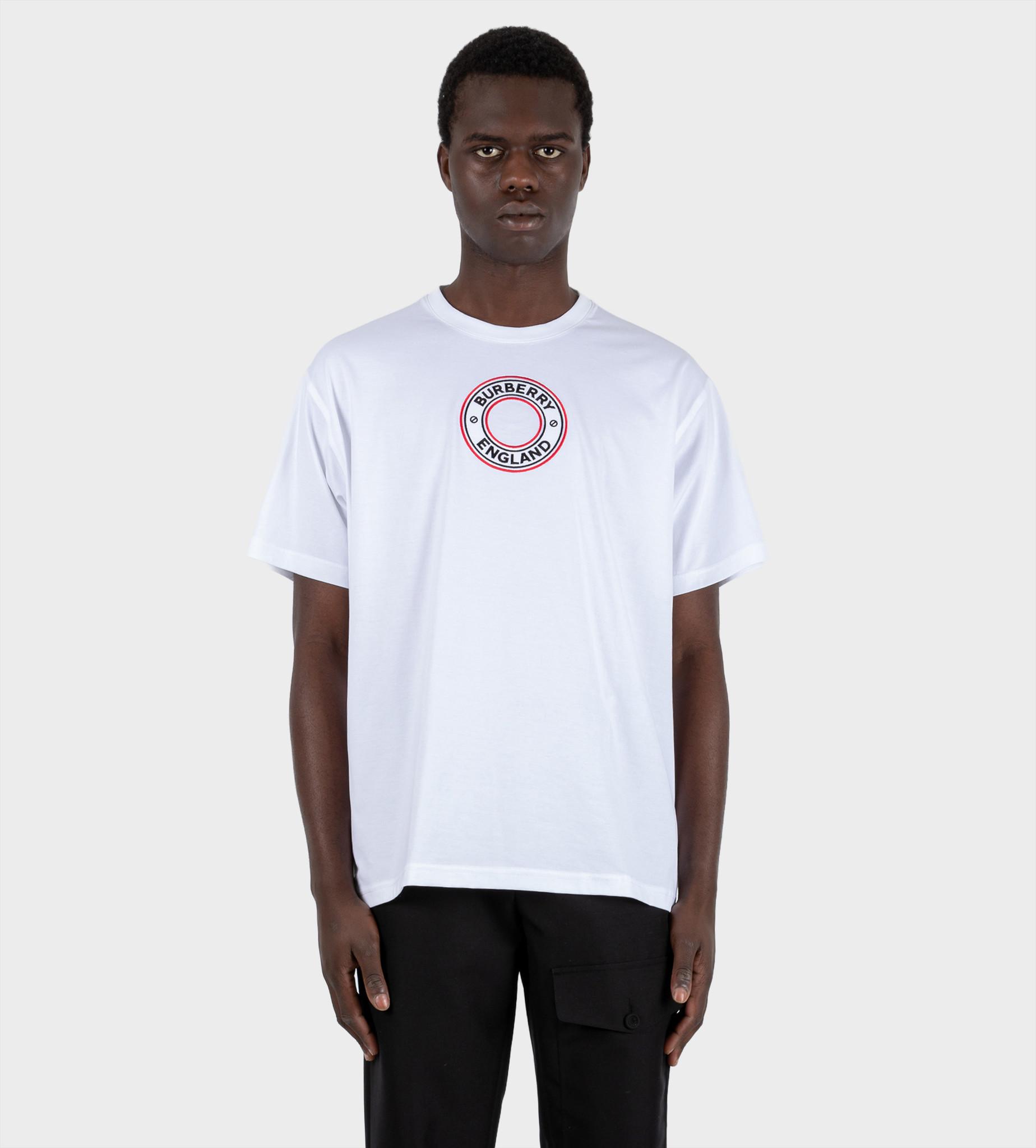 BURBERRY Logo Graphic Appliqué Cotton Oversized T-shirt White