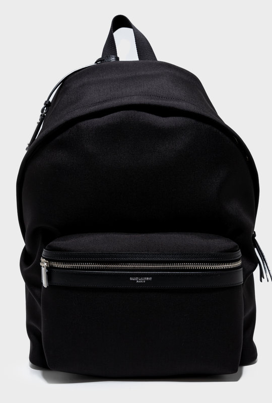 City Backpack in Nylon Canvas and Lambskin