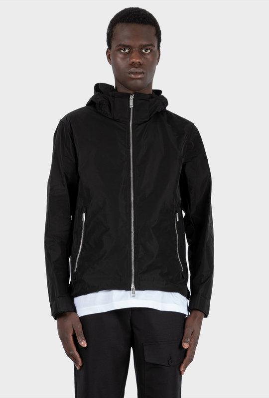 Packaway Hood Shape-Memory Taffeta Jacket Black