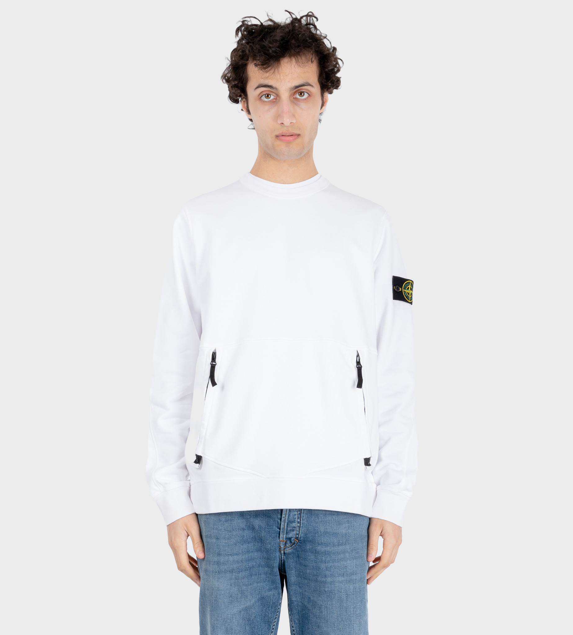 STONE ISLAND Front Pocket Logo Patch Sweatshirt White
