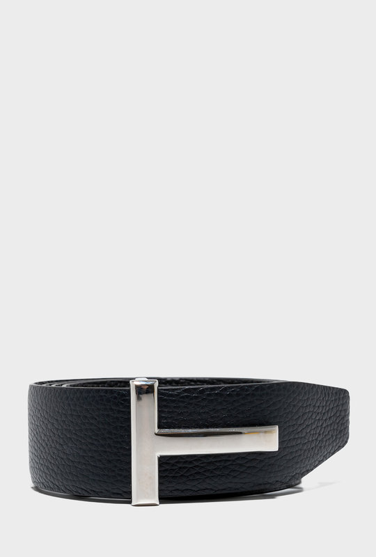 T Leather Belt Silver