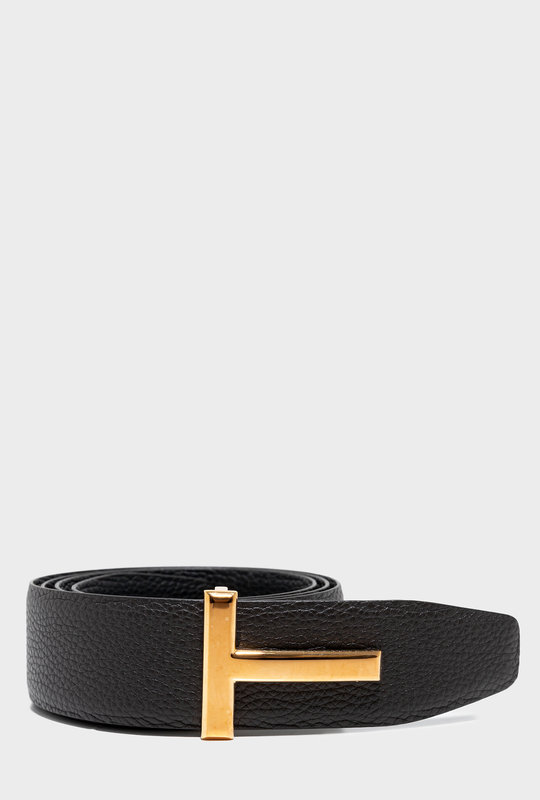 T Leather Belt Gold
