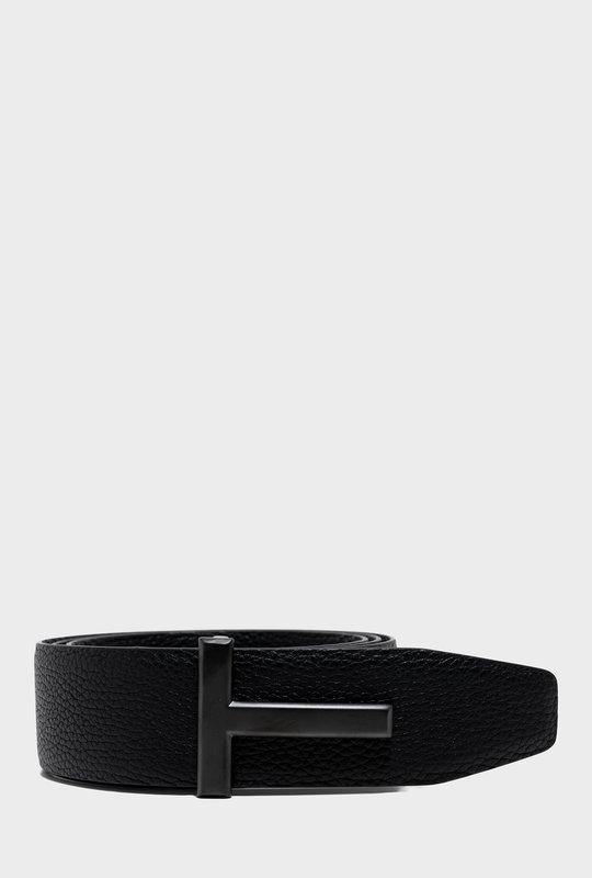 T Leather Belt Black